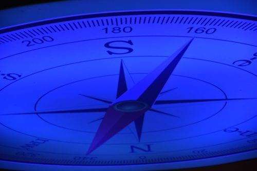Closeup of a blue compass.