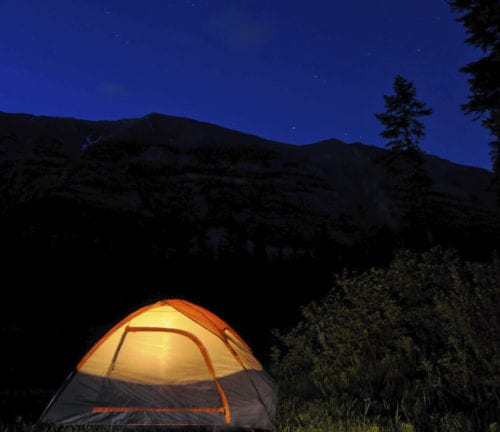 BaseCAMP illustration of a tent at night
