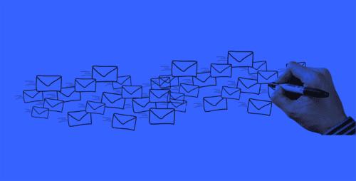 Illustration of someone drawing envelopes